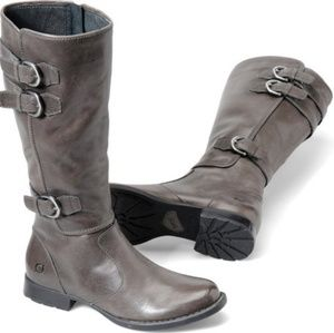 Born Attila Gray Leather Lined Boots B30658 Size 7